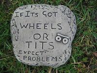 wheels plaque vw camper stone garden ornament<<VISIT MY SHOP>>