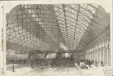 1854 Grand Central Railway Station Birminghan England Antique Print