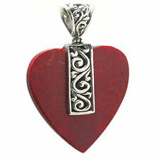 Trez .925 Sterling Silver Red Coral Heart Pendant 0501R