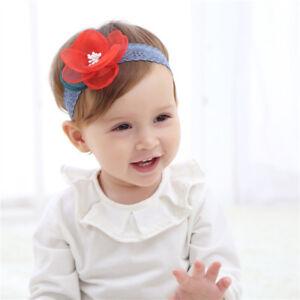 Toddler Newborn Baby Girl Lace Elastic Flower Headband Hair Band Accessories