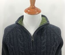 Fossil Sweater Cable Knit Wool Authentic Grey High Quality Thick Size XL NICE