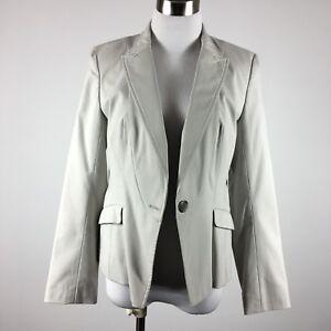 Ann Taylor Petite womens blazer 8P beige career one button lined flap pockets