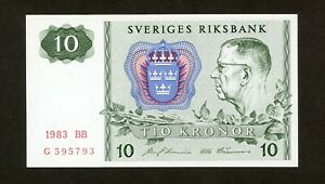 SWEDEN  10 KRONOR  1983  BB   PICK # 52d  UNC.