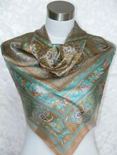 New Charmeuse Silk Scarf Shawl Blue Brown Paisley