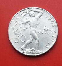 Tschechoslowakei: 50 Korun 1948 Silber, KM# 25, GEM Unc, Luster, #F2467