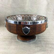 Vintage Wooden Punch Bowl Salad Fruit Lion Mask Silver Plated Handles