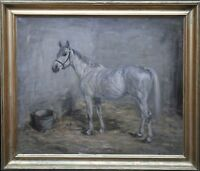 ROBERT ALEXANDER SCOTTISH PORTRAIT GREY HORSE STABLE OIL PAINTING ART 1916