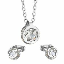 Stainless steel White Crystal Animal Bear Sets Earrings Necklace allergy Anti
