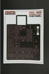 1996 - 2000 HONDA CIVIC FUSE BOX DECAL REPLACEMENT