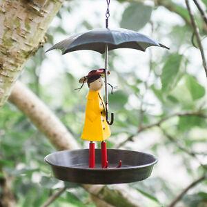 Iron Girl with Umbrella Bird Feeder Bath Feeding Station Hanging Garden Ornament