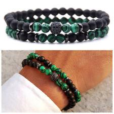 Bracciale uomo pietre dure set bracciali con pietra in malachite da verde nero