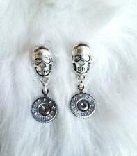 Skull and 9mm Bullet Shell Stud Earrings - gifts for her - bullet jewelry