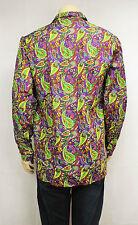 Mens Vintage 70s Style Disco HANDMADE Crazy Print Prince Festival Party Shirt M