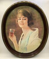 Vintage 1973 COCA COLA oval tin serving tray –Flapper Girl Retro 1923