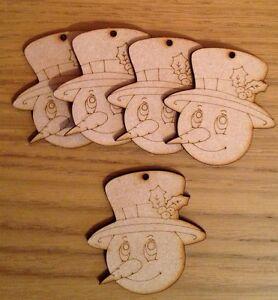 10x Wooden Snowman Baubles Blank .christmas Tree Decoration Mdf Craft Shape