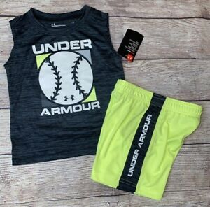 Under Armour 2T 3T 4 5 6 7 Neon Baseball Sleeveless Athletic Outfit Set NEW