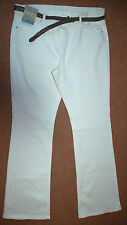 NEW Sz 18 White Boot Cut with Belt Jean Jeans Trousers Holiday Summer