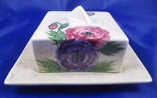VTG E. Radford Art Deco ANEMONES Hand Painted Lidded Butter Dish England