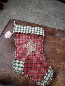 Handmade Homespun Christmas Rag Quilt Stocking