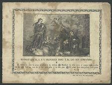 Grabado antiguo de la Virgen y Orden Franciscana santino image piese holy card