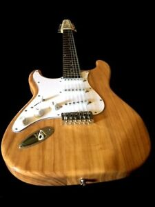 NEW LEFT HANDED 12 STRING NATURAL STRAT-STYLE ELECTRIC GUITAR