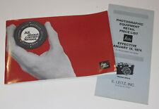 VTG 1973 LEICA LENS CATALOG & PRICE LIST! VISOFLEX/LEICAFLEX/PHOTAR/RANGEFINDER!