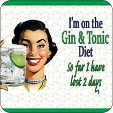 I'm On The Gin And Tonic Diet... funny cork backed drinks mat / coaster  (og)