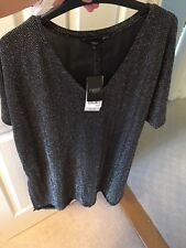 Next Black Silver Shimmer Lined Tunic Dress Size 18 Bnwt