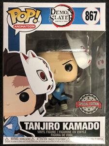 ON HAND! FUNKO POP DEMON SLAYER TANJIRO KAMADO WITH MASK EXCLUSIVE MINT BOX