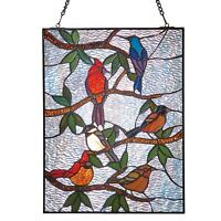 River of Goods Songbirds Stained Glass Panel -Tiffany Style Wall Art Sun Catcher