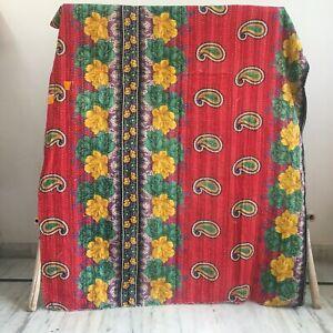 Bohemian Vintage Kantha Quilt Twin Blanket Boho Bedspread Art Ralli Gudri 1 Pc