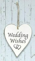 'Wedding Wishes' Wooden Heart Hanging Decorations Mr & Mrs Gift Wedding