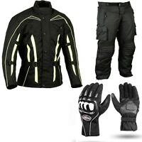 Motorbike Protection Suit Motorcycle Waterproof Jacket Trousers Gloves Set