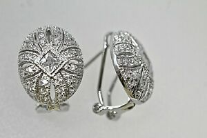 925 Sterling Silver Oval Victorian CZ French Clip Earrings Medallion Rhodium