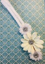 Daisy Headband White with gems, artificial flowers, hairband, bow, elasticated