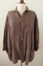 Womens FLAX by Angelheart Brown Linen Button Front Top Jacket ~ Large (D23)