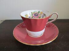 Aynsley England Demitasse Cup And Saucer Orange Flowers