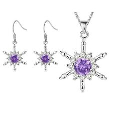 Necklace Pendant Set Snowflake Star Ladies 925 Sterling Silver Crystal Charm
