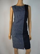 DKNYC Navy Blue White Linen Metal Front Hidden Zipper Sheath Dress 8 NEW D328