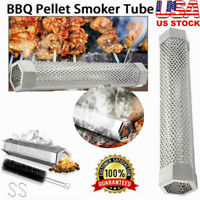 "12"" Useful Smoker Pellet BBQ Grill Hot/Cold Smoking Generator Mesh Filter Tube"