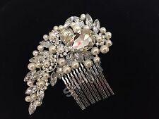 SILVER CRYSTAL PEARL DIAMANTE HAIR COMB CLIP SLIDE FASCINATOR BRIDAL WEDDING PRO