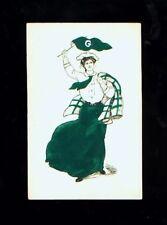 Early 1900's school girl w/pennant & jacket postcard - G