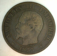 1853 W France 5 Cent Centimes Bronze Coin VF