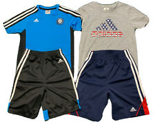 Lot Of 2 Boys Adidas Tshirt/matching shorts Sets (4 Pieces Total) Size 6.