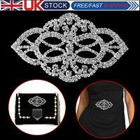 Diamante Silver Rhinestone Sew on Motif Crystal Applique Patch Bridal Wedding
