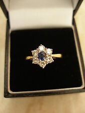 18 CARAT GOLD SAPPHIRE & DIAMOND CLUSTER DRESS COCKTAIL RING BNIB MADE IN UK