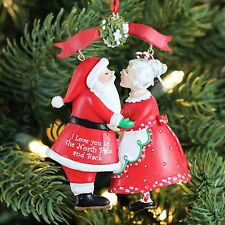 """Couple SANTA & MRS.  """"I LOVE YOU TO THE NORTH POLE AND BACK"""" Christmas Ornament"""