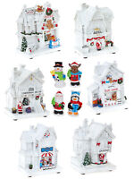 Light Up White Christmas Scene Decoration Traditional LED Xmas Shops Village