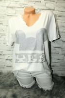 Italy New Collection Mickey Mouse T-Shirt weiß Gr. 36 38 40 42 blogger Strass