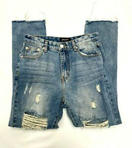 NASTY GAL RIPPED BLUE JEANS SIZE UK 8